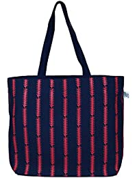 "EcoRight Reusable 100% Jute Cotton EcoFriendly Large Tote Bag Printed""Cotton Pattern"""