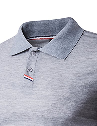 YCHENG Herren Basic Kurzarm Poloshirt Polos T-Shirt Einfarbig M-XXL Grau