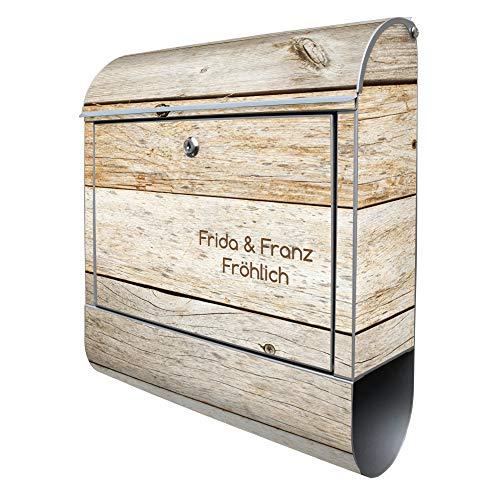 Banjado Design Briefkasten mit Motiv Graues Holz | Stahl pulverbeschichtet mit Zeitungsrolle | Größe 38x47x14cm, 2 Schlüssel, A4 Einwurf, inkl. Montagematerial mit Beschriftung