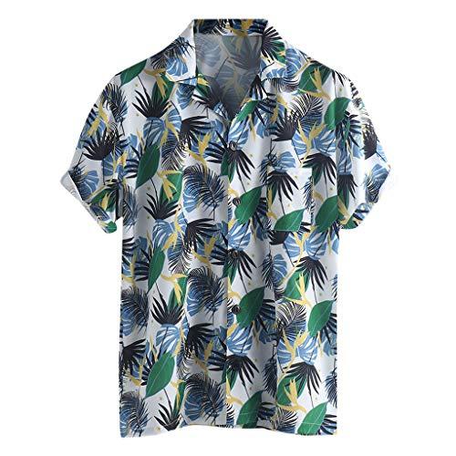 Beikoard 2019 Neue Ankünfte Mode Sommer Herren Casual Multi Farbe Klumpen Brust Tasche Kurzarm Runde Lose Shirts Bluse (Blau, XXL) -