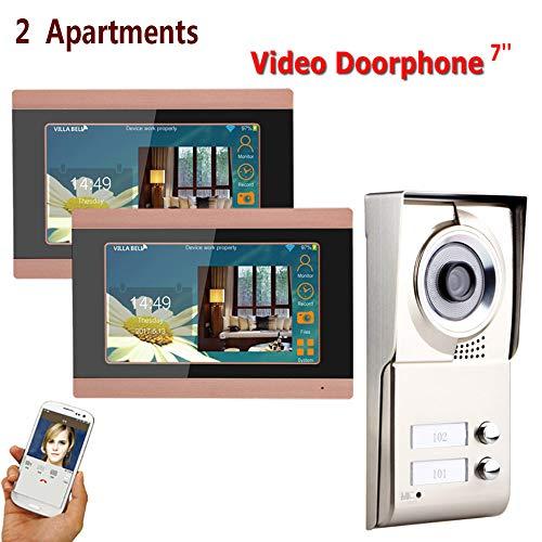 ZY 7inch Registro inalámbrico WiFi 2 Apartamentos Video Portero telefónico Sistema IR-Cut...