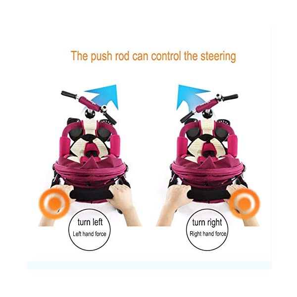 GSDZSY - 3 IN 1 Children Kids Tricycle, Seat Adjustable, Baby Can Sit Or Lie Flat, Push Rod Can Control The Direction, Rubber Wheel, 1-6 Years Old GSDZSY ❀ Material: High carbon steel + ABS + rubber wheel, suitable for children from 6 months to 6 years old, maximum load 30 kg ❀ Features: The push rod can be adjusted in height, the seat can be rotated 360, the backrest can be adjusted, the baby can sit or lie flat; the adjustable umbrella can be used for different weather conditions ❀ Performance: high carbon steel frame, strong and strong bearing capacity; rubber wheel suitable for all kinds of road conditions, good shock absorption, seat with breathable fabric, baby ride more comfortable 2