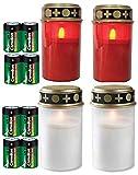 Fachhandel Plus 4er Set Grablichter rot und weiß, LED Kerze, Grabkerze, Flackereffekt, inkl. Batterien