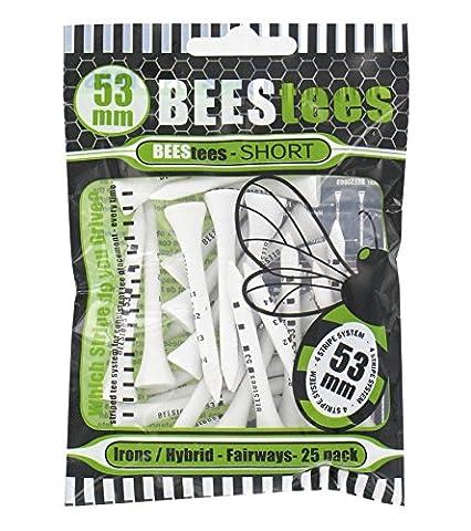 Bees tees, courte tees 53mm pour fer à repasser, hybride ou bois de parcours. Lot de 25