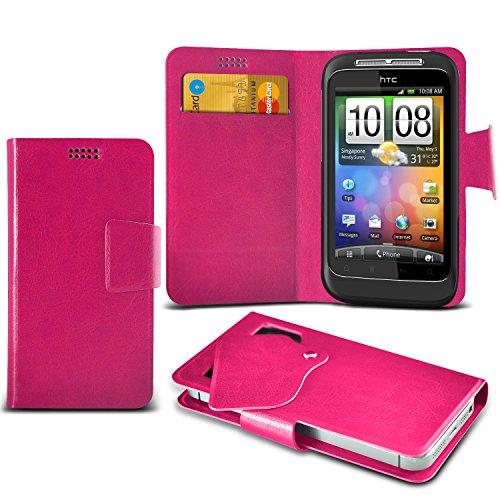 (Hot Pink) HTC Wildfire S Schutzhülle Mega Dünn Faux Leder Saugnapf Tasche Case Cover hülle mit Kredit- /Debitkarte Steckplätze Aventus