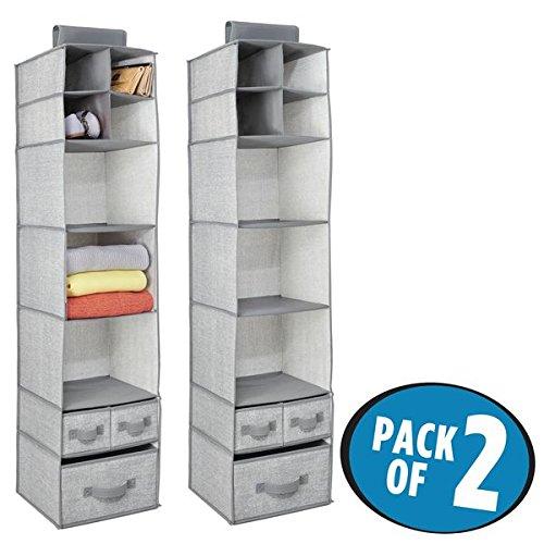 mDesign 2er-Set hängender Stoffschrank – 7 Regale und 3 Schubladen – der ideale Hängeschrank...