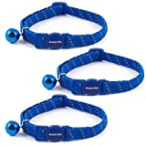 3 x Ancol Blue Softweave Reflective Cat Collars - Bulk Buy Save Money
