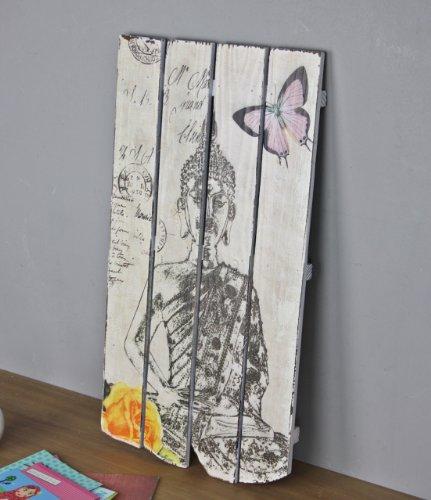 Colgar en la pared blanco negro de madera Buda Cartel de madera impresión–Cuadro decorativo (60cm), multicolor
