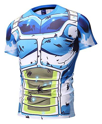Pizoff T-Shirt con Stampa Anime - Vegeta Manga Comics Dragonball Palestra Allenamento Slim Fit Unisex