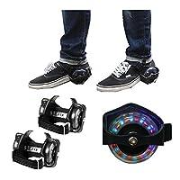 Pour encore plus de fun. Transformez une simple paire de baskets en incroyable chaussures à roulettes lumineuses !  Ils suffit de fixer les roulettes sous vos chaussures, et c'est parti.  Équipées de LED colorées, elles font sensation dans l'obscurit...