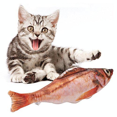Kissen-trainer (Haustier Spielzeug Katzenminze Kauspielzeug Plüsch Fisch Muster Interaktive Haustiere Kissen für Katzen Kätzchen (11.8