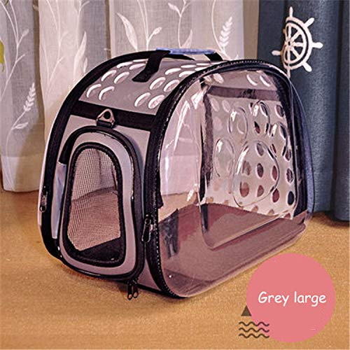 YSYW Pet Carrier Faltbare Ausgehende Tragbare Pet Pack Transparent Pet Bag Cat Bag Hund Pet Rucksack,Grey*L -