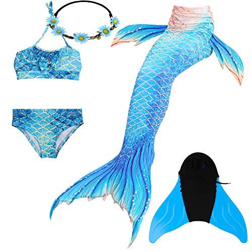 COZY HUT 2019 Mädchen Meerjungfrau Tails Bikini Badeanzug setzt 5 Stücke Bademode mit Flosse für Schwimmen Cosplay Partei