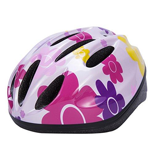 Babimax Fahrradhelm Kinder M 45-56CM zehn Löcher Radsport Mountainbike (Sonnenblume-Pink, M)