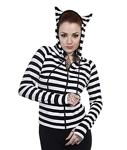 Banned Cat Ears Striped Alternative Lightweight Hoodie - UK 14 (L) / White