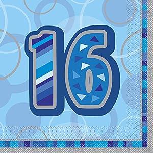 Unique Party Paquete servilletas de Papel de 16 cumpleaños, Color azul Edad (28457