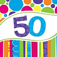 16 Servietten Zahl 50 Bright and Bold