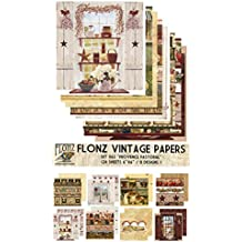 "Paper Pack (24sh 6""x6"") Provence Pastoral FLONZ Vintage Paper for Scrapbooking and Craft"