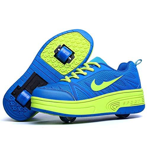 Recollect Kinder Skateboard Schuhe mit Rollen Roller Skate Schuhe Sportschuhe Laufschuhe Sneakers mit Single/Doppelt Räder Jungen Mädchen,Blue2,33EU