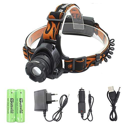 WolfWay XM-L T6 LED Taschenlampe Kopflampe nachladbare im Freienfischen Jagd-kampierender Stirnlampe + 2 * 4200mAh 18650 battery + charger