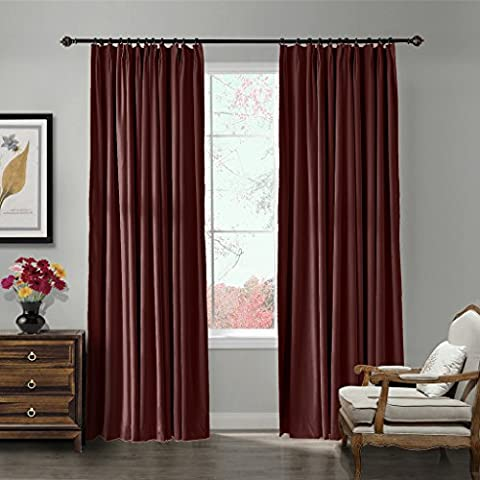 ChadMade Pinch Pleat 42W x 84L Blackout Lined Velvet Curtain Drapery Panel For Traverse Rod or Track, Living room Bedroom Meetingroom Club Theater Patio Door (1 Panel), Burgundy