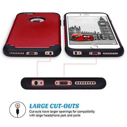 Cover iPhone 6s Plus, ULAK Cover per iPhone 6 Plus Marmo Custodia Stampato Design PC + Silicone ibrido impatto grande Difensore Combo duro morbido Case per Apple iPhone 6 Plus/ 6s Plus 5.5 (Marmo) Nero + Rosso