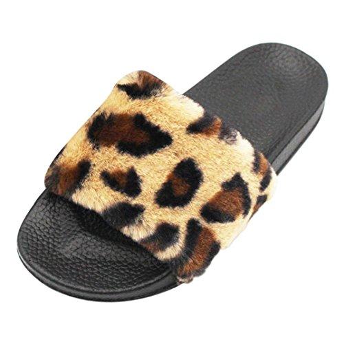 Damen Flip-Flops, Sonnena Frauen Flip Flops Sliders Leopard flaumig faux Pelz flach Pantoffel Flip Flop Sandale Outdoor Beach Shoes Zehentrenner Slipper (Sexy Kaffee, 40) (Leder Croc Faux)