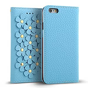 """iPhone 6s / 6 Case (4.7"""") DESIGNSKIN WETHERBY [FLOWER PATCH] Genuine Cow Leather 100% Handcrafted Unique Luxurious Design ID Credit Card Paper Bill Slot Wallet Case (Sky Blue)"""