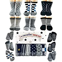 Toddler Boy Non Slip Socks, Best Gift for 1-3 Year Old Boys Baby Boy Gifts Anti Slip Non Skid Grip ABS Socks Birthday Gift Set by Tiny Captain