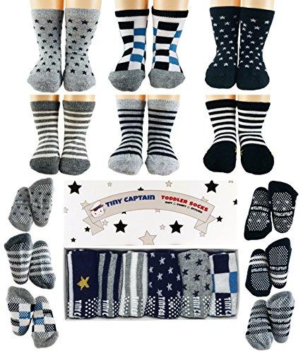 (Baby Antirutsch Socken für Jungen, ABS Socken, super Geschenk für Junge im Alter von 1-3 Jahre, 6 Paar mit Antirutsch Noppen Von Tiny Captain)