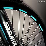 Motoking Fahrrad-Reflektorenaufkleber - Hellblau - 26 Aufkleber im Set - Breite: 7 mm - reflektierende Felgenaufkleber für Trekkingbike-, Fahrradfelgen & mehr