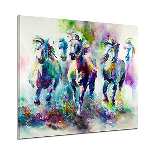 ghfcffdghrdshdfh 11300 Colourful Horse Pattern Home Decoration Canvas Printed Wall Picture -
