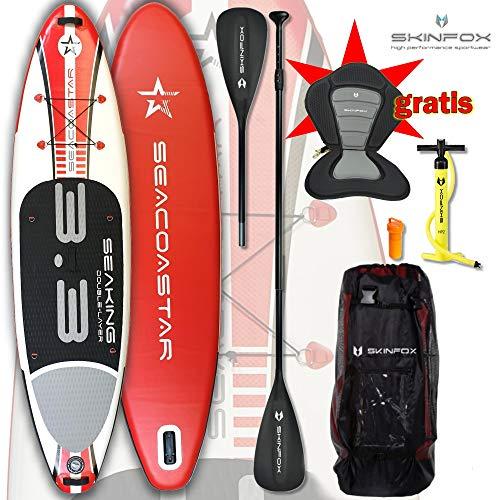 SKINFOX Aktion SEACOASTAR SEAKING SUP Board Paddelboard aufblasbar rot Set ALU-KOMPLETT-Set inkl. Kayak-Seat (Board,Bag,Pumpe,Repair-Set,ALU SUP-/Kayak Paddel+Kayak-Seat) ERSPARNIS: 35 Euro