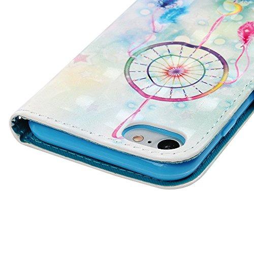 "MAXFE.CO Lederhülle Case Schutz für iPhone 7 4.7"" PU + TPU Innere Etui Schale Backcover Brieftasche 3D Design Traumfänger Flip Cover mit Kartenfächer Magnetverschluß Standfunktion Traumfänger"