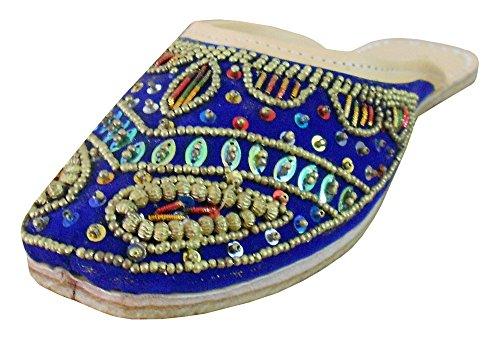 Kalra creaciones con secuencia trabajo étnico de terciopelo tradicional de la India de la mujer zapatos, color Rosa, talla 37,5 EU M
