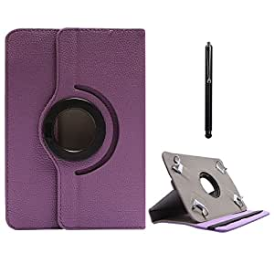 DMG Protective Flip Book Cover Stand View Case for Lava Ivorys Tablet (Purple) + Capacitive Touch Screen Stylus