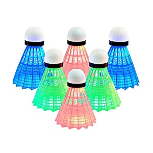 Senston 6 Stück LED Federball, Buntes Dunkles Nachtglühen...