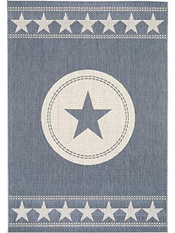 benuta In- & Outdoor Teppich Essenza Star Blau 120x170 cm