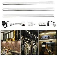 LuxVita LED Barra Luminosa Senza Luce Automatica Notturna Handwelle Sensor 3 x 300MM 6W 450LM Bianco Fredda 6000K Totale di 18W DC 12V Tutti gli accessori Scaffali Armadio leggero