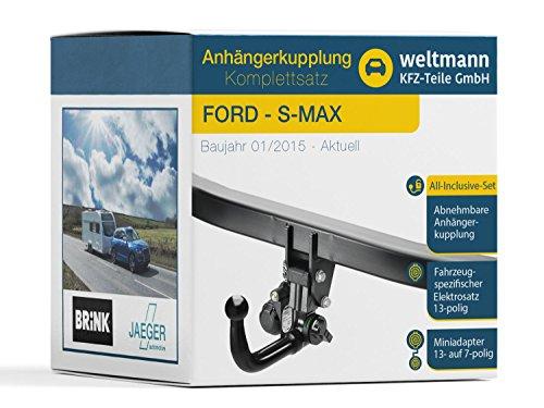 Weltmann 7D060013 FORD S-MAX - Abnehmbare Anhängerkupplung inkl. fahrzeugspezifischem 13-poligen Elektrosatz