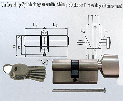 Preisvergleich Produktbild Knaufzylinder in 60 mm (30x30) Schließanlage Gleichschließend 2, 3 oder 4-er Set mit 5 Schlüssel pro Türschloss (4)