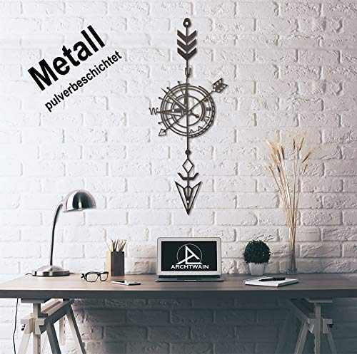Design 3D Wandbild 58 x 24 cm Kompass Compass Metallbild Wanddeko Archtwain Studio Design Industrie Look MD-104