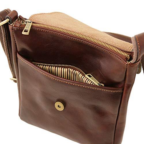 99165e987a779 Tuscany Leather John Borsello da uomo in pelle con zip frontale