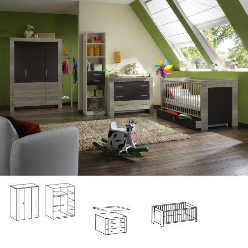 Wimex Babyzimmer-Set 364381 Emily, Eiche sägerau-Nachbildung, Abs. Lavafarbig