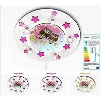 KIDSLICHT Kinderzimmerlampe Led Schlummerlicht Eulen auf Ast. 038-2-WPi Kinderlampe Baby Leuchte Babylampe