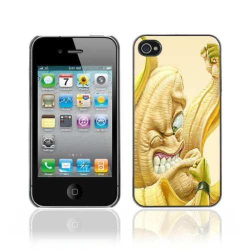 ouucase Coque rigide pour iPhone 4/4S - Funny Banana Angry Birds DIY HD Housse PC Pour New Design