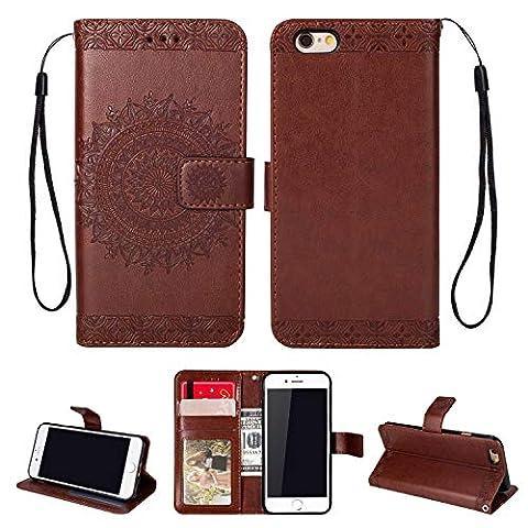 HCUI iPhone 6 Plus/iPhone 6S Plus Custodia Cover Portafoglio, Rilievo Wallet Shock-Absorption Magnetica Supporto Protettiva Bumper Cover Leather Flip ...