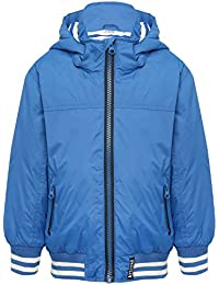 M&Co Boys Blue Long Sleeve Stripe Rib Trim Detachable Hooded Zip Front Pocket Lightweight Jacket