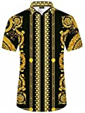 Pizoff Herren Hemdkragen mit Kurz Ärmeln Fashion Hip-Hop Tops Hemden mit Floral Blumen Luxus Palace Muster Y1782-17-XXL