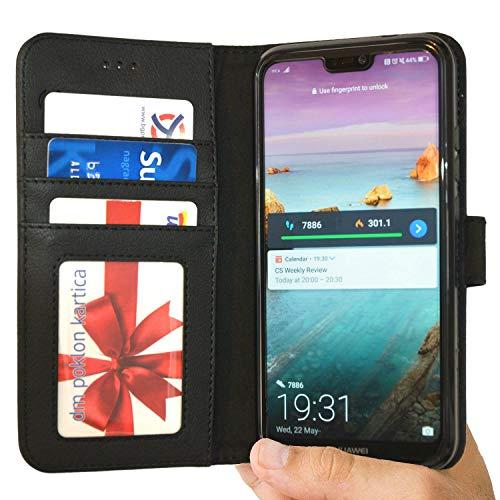 P20 Lite Hülle Tasche kompatibel mit Huawei P20 Lite Brieftasche [Abacus24-7] Leder-Tasche mit Ständer Fächern für Karten Bargeld, Handytasche Huawei P20 Lite Case Cover -